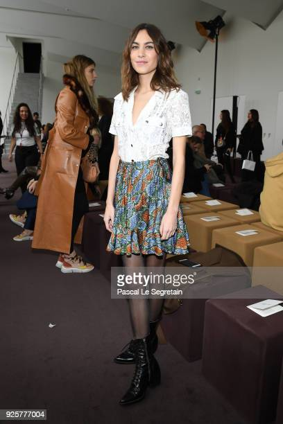 Alexa Chung attends the Chloe show as part of the Paris Fashion Week Womenswear Fall/Winter 2018/2019 on March 1 2018 in Paris France