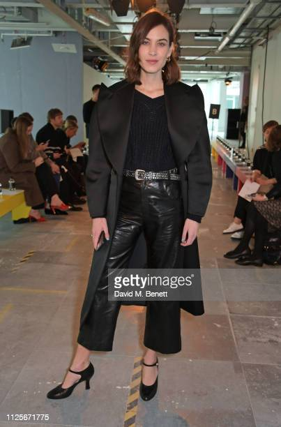 Alexa Chung attends the Christopher Kane show during London Fashion Week February 2019 on February 18 2019 in London England