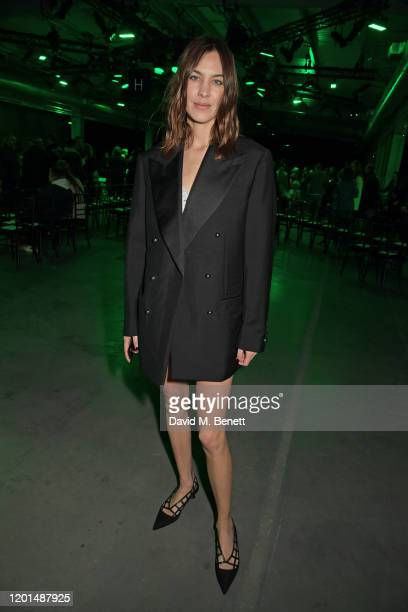 Alexa Chung attends the Christopher Kane show during London Fashion Week February 2020 at The Mail Centre on February 17, 2020 in London, England.