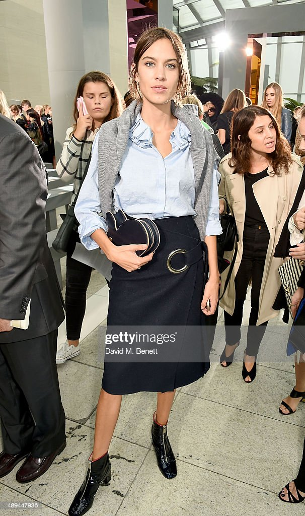 Alexa Chung attends the Christopher Kane show during London Fashion Week SS16 at Sky Garden on September 21, 2015 in London, England.
