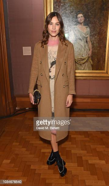 Alexa Chung attends the Erdem front row during London Fashion Week September 2018 at the National Portrait Gallery on September 17 2018 in London...