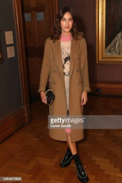 Alexa Chung attends the ERDEM show during London Fashion Week September 2018 at the National Portrait Gallery on September 17 2018 in London England