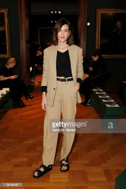 Alexa Chung attends the Erdem show during London Fashion Week February 2019 at National Portrait Gallery on February 18 2019 in London England