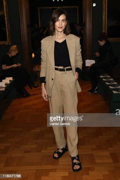 Alexa Chung attends the Erdem show during London Fashion Week February 2019 at the National Portrait Gallery on February 18 2019 in London England