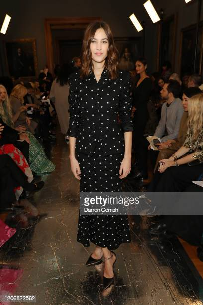 Alexa Chung attends the Erdem show during London Fashion Week February 2020 on February 17 2020 in London England