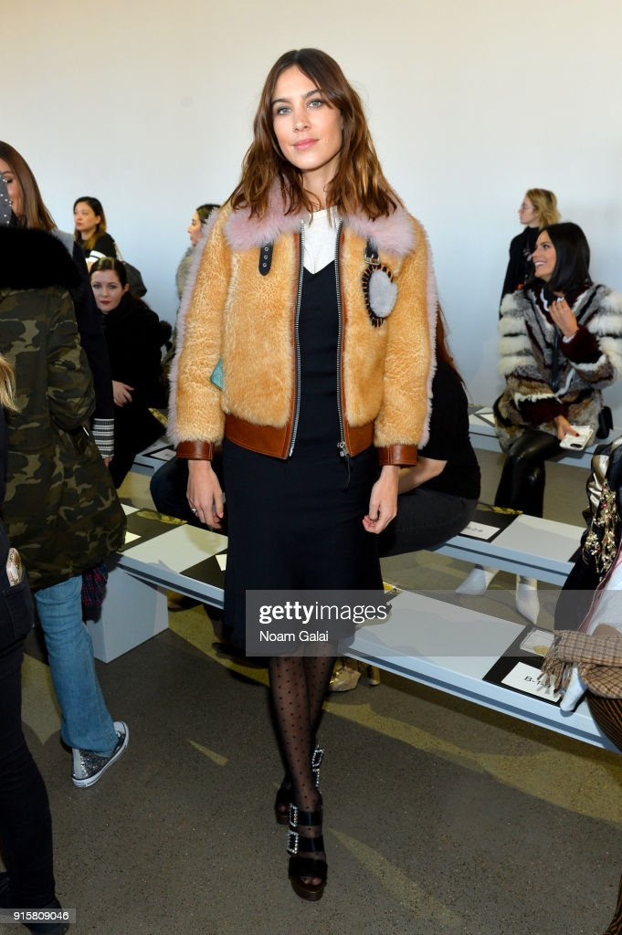 Alexa Chung attends the front row for Noon by Noor during New York Fashion Week: The Shows at Gallery II at Spring Studios on February 8, 2018 in New York City.