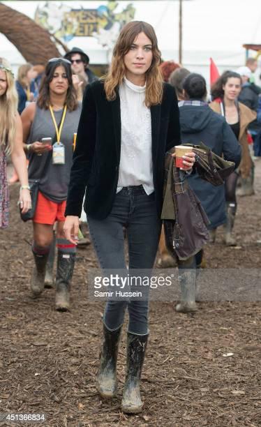 Alexa Chung attends the Glastonbury Festival at Worthy Farm on June 28 2014 in Glastonbury England