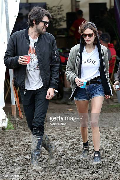 Alexa Chung attends the Glastonbury Festival at Worthy Farm Pilton on June 26 2016 in Glastonbury England