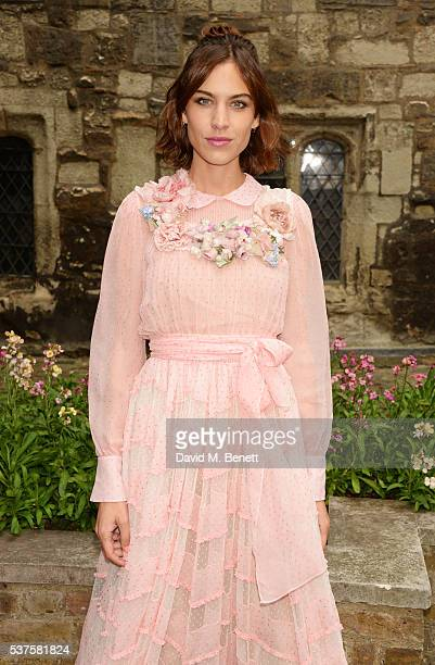 Alexa Chung attends the Gucci Cruise 2017 fashion show at the Cloisters of Westminster Abbey on June 2 2016 in London England