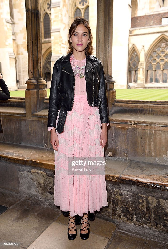 Alexa Chung attends the Gucci Cruise 2017 fashion show at the Cloisters of Westminster Abbey on June 2, 2016 in London, England.