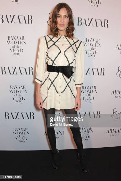 Alexa Chung attends the Harper's Bazaar Women of the Year Awards 2019, in partnership with Armani Beauty, at Claridge's Hotel on October 29, 2019 in...