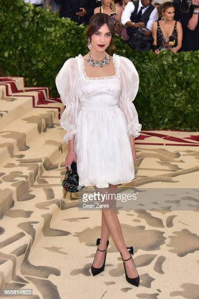 Alexa Chung attends the Heavenly Bodies: Fashion & The Catholic Imagination Costume Institute Gala at The Metropolitan Museum of Art on May 7, 2018...