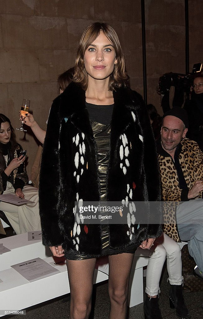 Alexa Chung attends the House of Holland show during London Fashion Week Autumn/Winter 2016/17 at TopShop Show Space on February 20, 2016 in London, England.