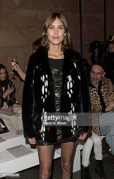 Alexa Chung attends the House of Holland show during London Fashion Week Autumn/Winter 2016/17 at TopShop Show Space on February 20 2016 in London...