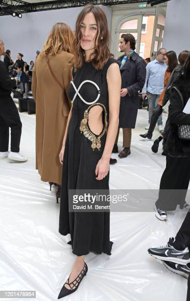 Alexa Chung attends the JW Anderson show during London Fashion Week February 2020 at Yeomanry House on February 17, 2020 in London, England.