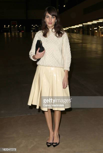 Alexa Chung attends the JW Anderson show during London Fashion Week Fall/Winter 2013/14 at TopShop Show Space on February 18 2013 in London England