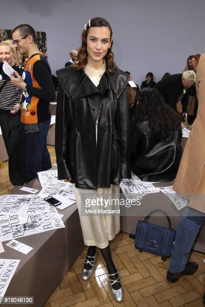 Alexa Chung attends the JW Anderson show during London Fashion Week February 2018 at on February 17, 2018 in London, England.