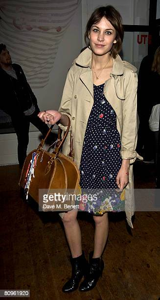 Alexa Chung attends the launch party for the Uniqlo UT gallery curated by Matt Urwin in Brick lane on May 1 2008 in London England