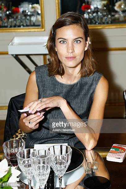 Alexa Chung attends the Lonchamp Cocktail as part of the Paris Fashion Week Womenswear Spring/Summer 2017 at Longchamp Boutique St Honore on October...