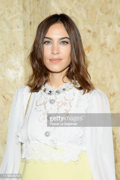 Alexa Chung attends the Miu Miu Womenswear Spring/Summer 2020 show as part of Paris Fashion Week on October 01 2019 in Paris France