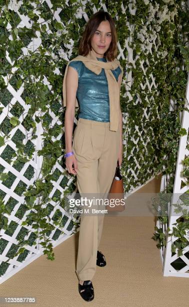 Alexa Chung attends the Polo Ralph Lauren VIP suite during Wimbledon at All England Lawn Tennis and Croquet Club on July 9, 2021 in London, England.
