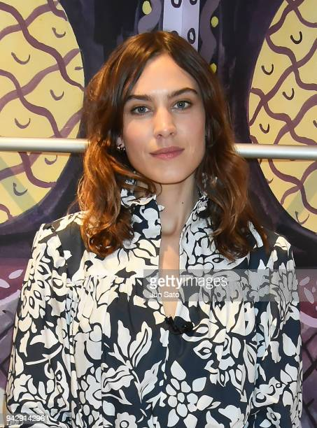 Alexa Chung attends the promotional event for ALEXACHUNG Virginia Collection at Isetan Shinjuku Department Store on April 7 2018 in Tokyo Japan