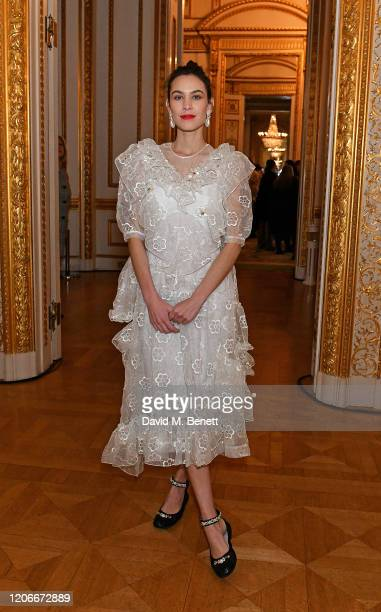 Alexa Chung attends the Simone Rocha front row during London Fashion Week February 2020 at Lancaster Houseon February 16, 2020 in London, England.