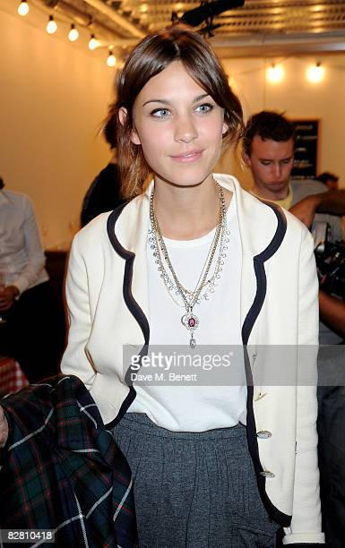 Alexa Chung attends the Topshop LFW Spring Summer 2009 runway show, at P3 on September 14, 2008 in London, England.