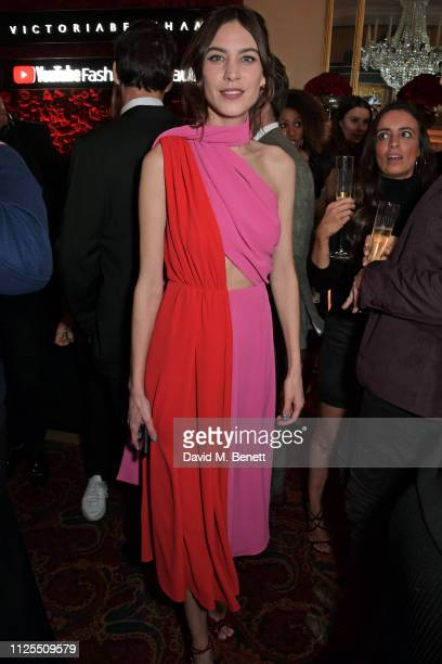 Alexa Chung attends the Victoria Beckham x YouTube Fashion Beauty after party at London Fashion Week hosted by Derek Blasberg David Beckham at Mark's...
