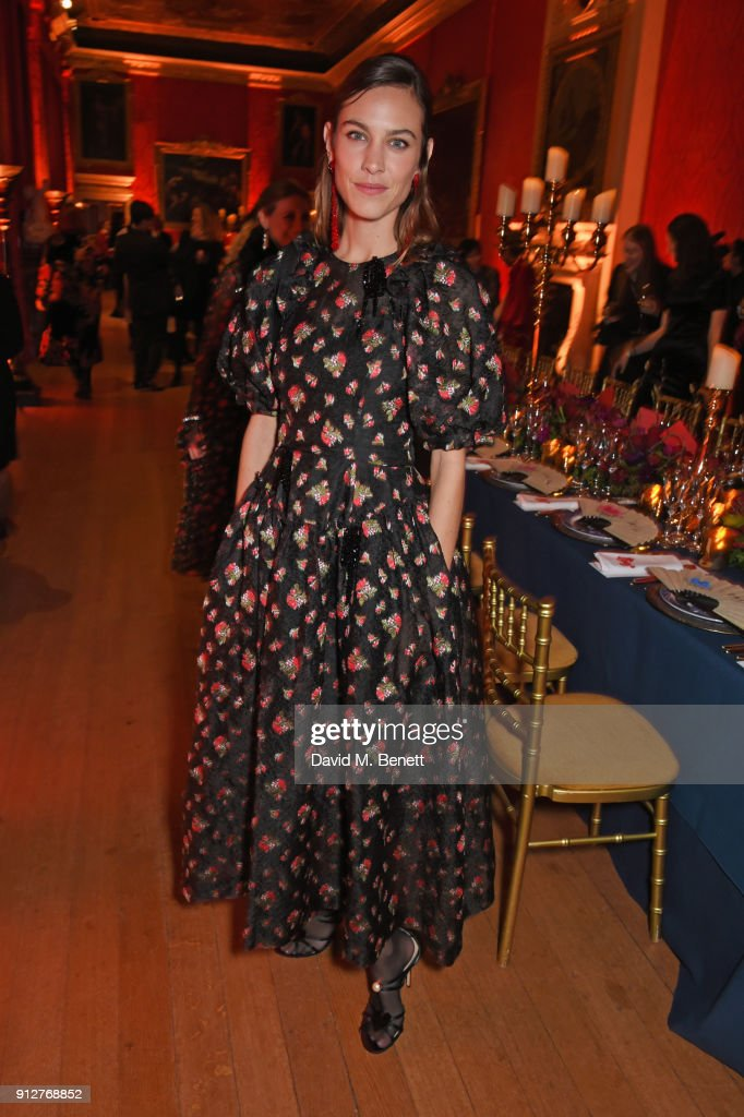 Alexa Chung attends Wendy Yu's Chinese New Year Celebration at Kensington Palace on January 31, 2018 in London, United Kingdom.