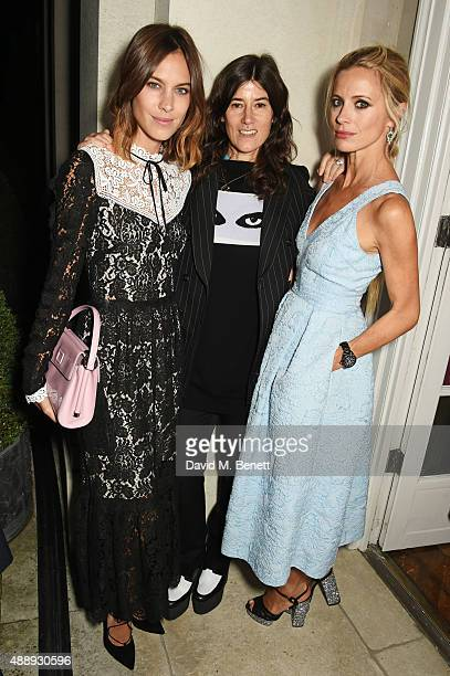 Alexa Chung Bella Freud and Laura Bailey attend the London Fashion Week party hosted by Ambassador Matthew Barzun and Mrs Brooke Brown Barzun with...