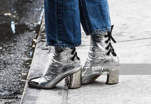 Alexa Chung boots detail is seen outside of the Proenza Schouler show during New York Fashion Week Women's Fall/Winter 2017 on February 13 2017 in...