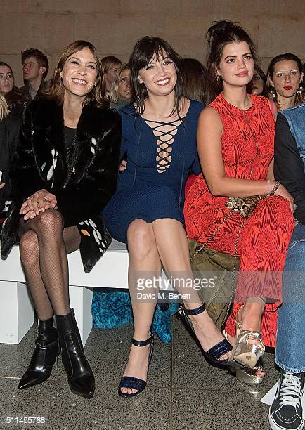 Alexa Chung Daisy Lowe and Pixie Geldof attend the House of Holland show during London Fashion Week Autumn/Winter 2016/17 at TopShop Show Space on...