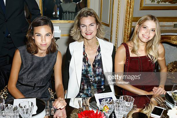 Alexa Chung Elena Perminova and a guest attends Lonchamp dinner as part of the Paris Fashion Week Womenswear Spring/Summer 2017 at Longchamp Boutique...