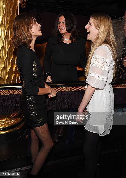 Alexa Chung Fran Cutler and Gillian Orr attend the Marc Jacobs Beauty dinner at the Club at Park Chinois on February 20 2016 in London England