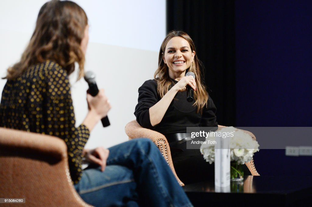 Alexa Chung (L) interviews Maria Hatzistefanis for the launch of How To Be An Overnight Success at Crosby Street Hotel on February 6, 2018 in New York City.