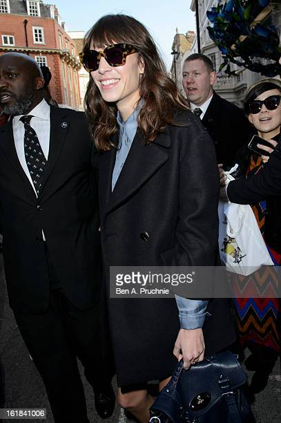 Alexa Chung is pictured departing the Mulberry catwalk show during London Fashion Week on February 17, 2013 in London, England.