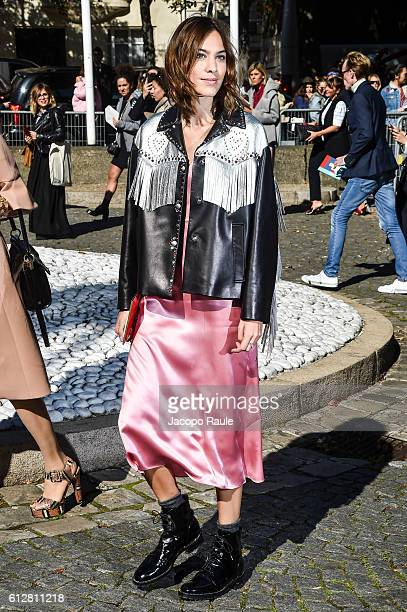 Alexa Chung is seen arriving at Miu Miu Fashion show during Paris Fashion Week Spring/Summer 2017 on October 5 2016 in Paris France