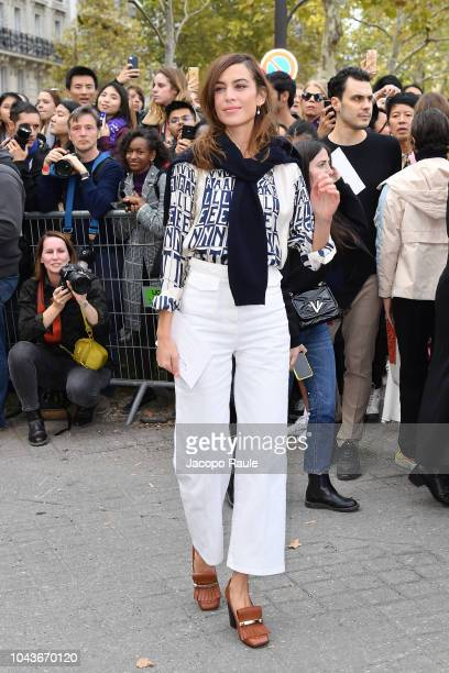 Alexa Chung is seen arriving at Valentino fashion show during Paris Fashion Week Womenswear Spring/Summer 2019 on September 30 2018 in Paris France