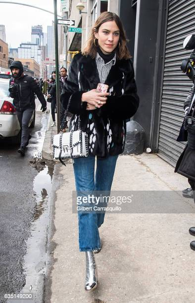 Alexa Chung is seen arriving to the Proenza Schouler collection during New York Fashion Week The Shows on February 13 2017 in New York City