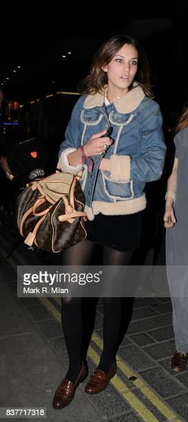 Alexa Chung is seen at the launch of Bolongaro Trevor Pearl Lowe Vintage Broadwick Street London