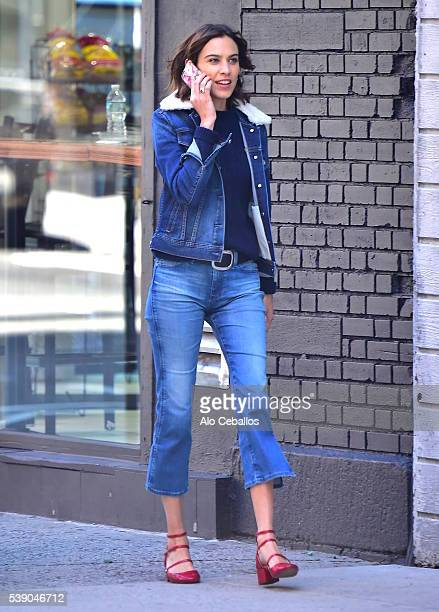 Alexa Chung is seen during a shoot in Soho on June 9 2016 in New York City