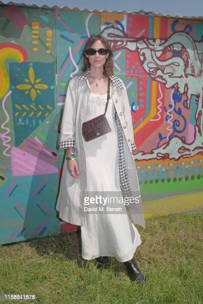 Alexa Chung is seen on day one of the Glastonbury Festival on June 28, 2019 in Glastonbury, England.