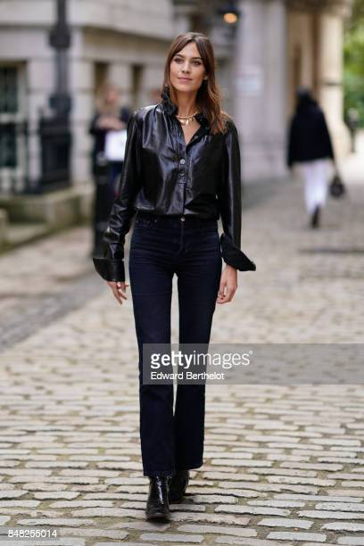 Alexa Chung is seen outside Simone Rocha during London Fashion Week September 2017 on September 16 2017 in London England