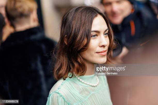 Alexa Chung is seen outside Stella McCartney during Paris Fashion Week Womenswear Fall/Winter 2019/2020 on March 04 2019 in Paris France