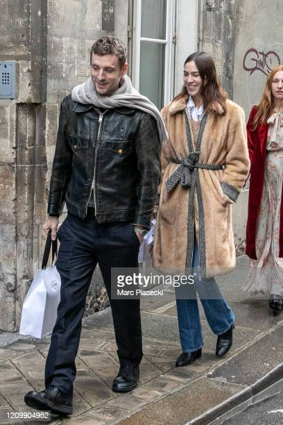 Alexa Chung is seen strolling in 'Le Marais' area on March 02, 2020 in Paris, France.