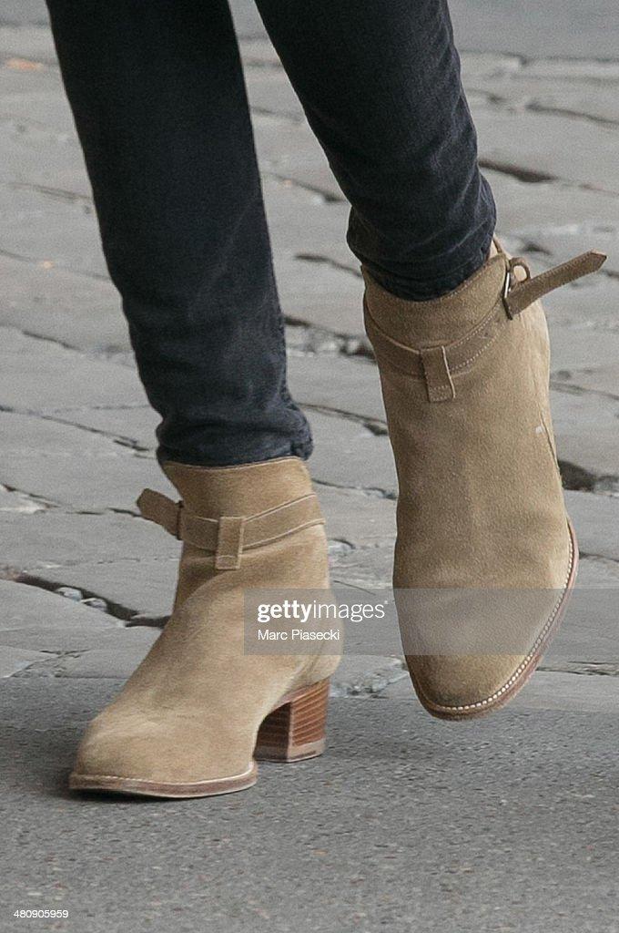Alexa Chung (shoe detail) is seen strolling on the 'Rue de Rivoli' on March 27, 2014 in Paris, France.