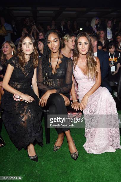 Alexa Chung, Jordan Dunn and Silvia Toffanin attend the Intimissimi Show on September 5, 2018 in Verona, Italy.