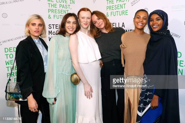 Alexa Chung Karen Elson Stella McCartney Tina Kunakey and Halima Aden pose after the Stella McCartney show as part of the Paris Fashion Week...