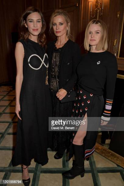 Alexa Chung Laura Bailey and Alice Eve attend the Fashion Our Future launch event at Claridge's Hotel on February 17 2020 in London England...